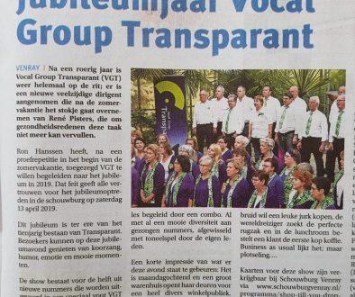 Artikel Peel en Maas Jubileumjaar Vocal Group Transparant