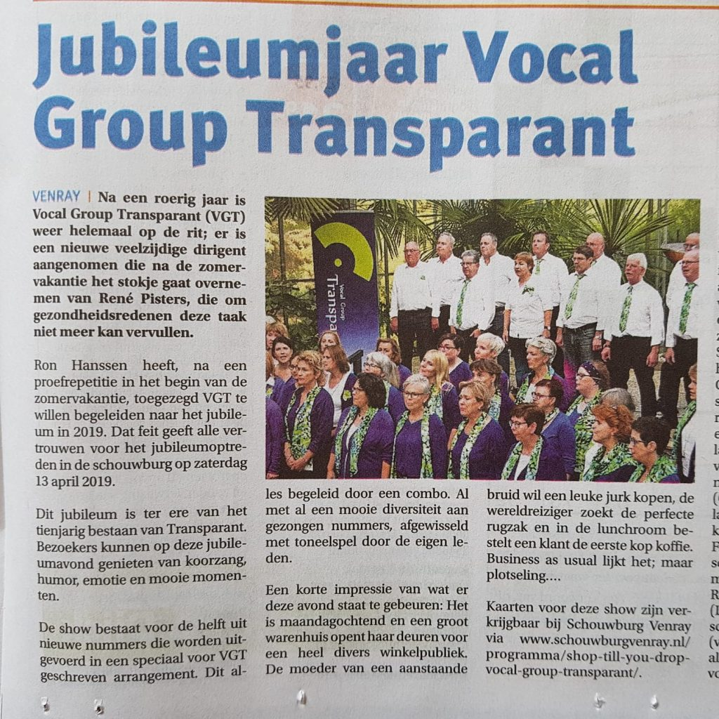 Artikel Peel en Maas Jubileumjaar Vocal Group Transparant