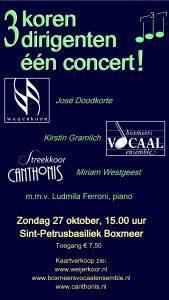 3 koren, 3 dirigenten, één concert! 27-10-2019 in Boxmeer